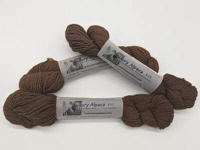 100% Alpaca Yarn Dark Brown color. 80 yards