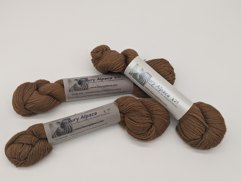 100% Alpaca Yarn Medium Brown color 268 yards