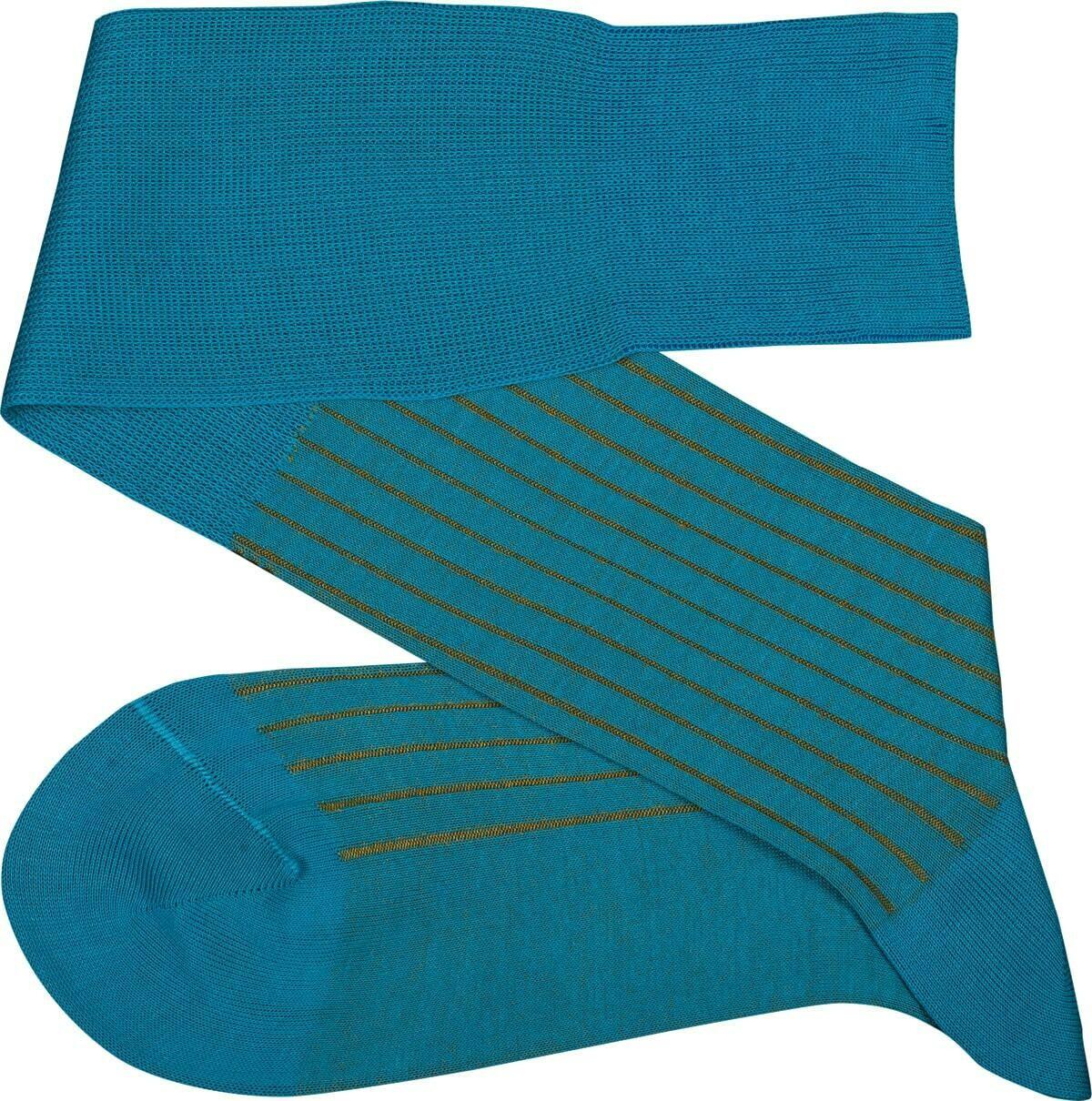 Chaussettes Lignées Turquoise/Moutarde