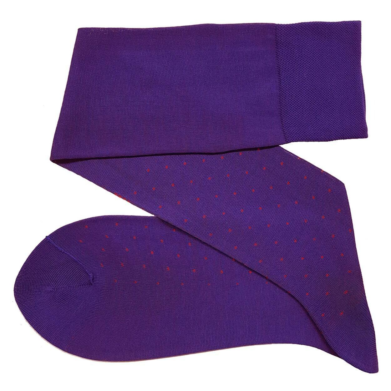 Chaussettes à Pois Violet/Rouge