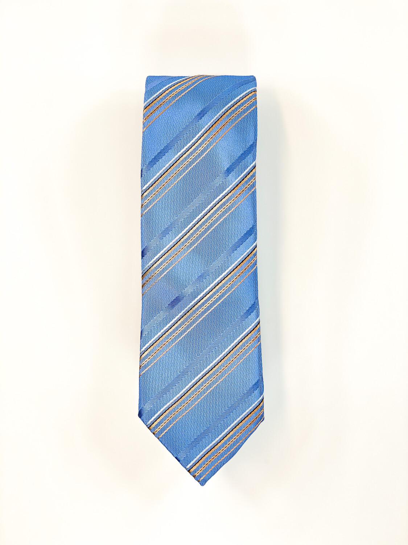 Cravate Bleu Rayures Dorées