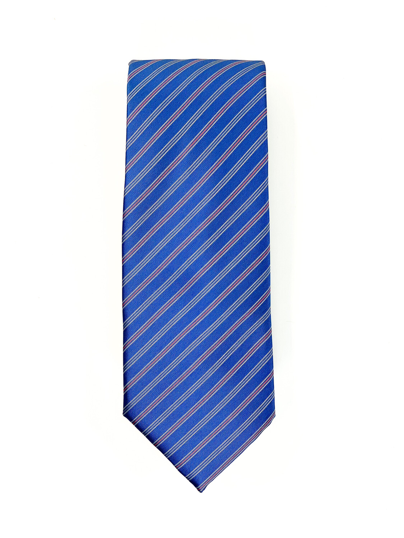 Cravate Bleu Acier à Rayures Corail