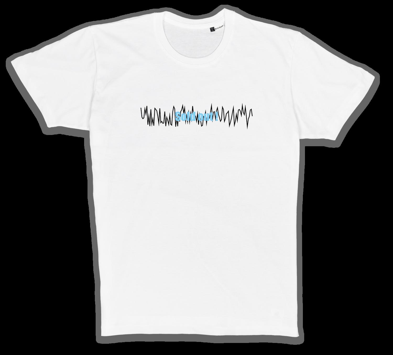 Organic T-Shirt mit Stick in weiß/schwarz/blau