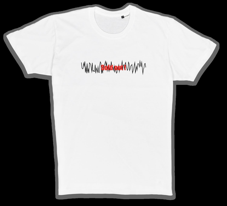 Organic T-Shirt mit Stick in weiß/schwarz/rot