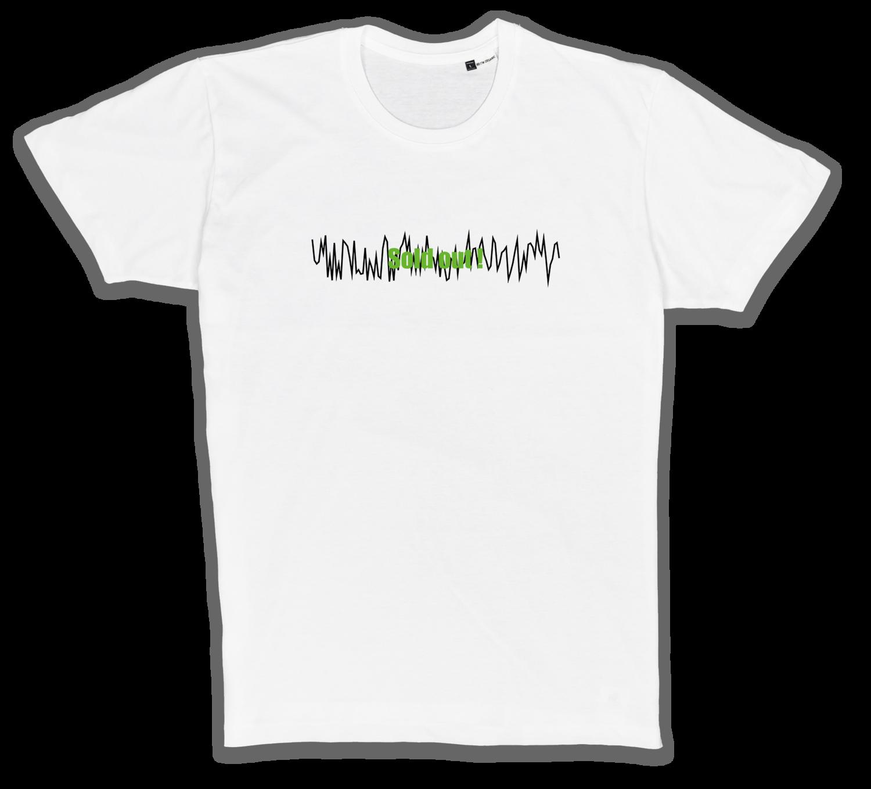 Organic T-Shirt mit Stick in weiß/schwarz/grün