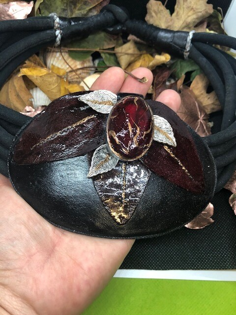 Large leather and tourmaline pendant