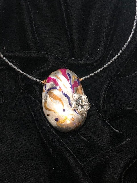 Plated silver pebble pendant