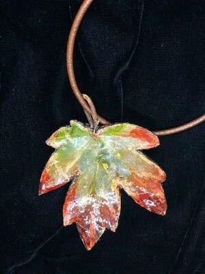 Large real leaf pendant on leather back