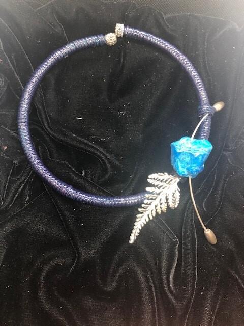 Moroccan natural dye indigo stone on torque necklace