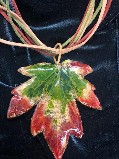 Large leaf hand painted