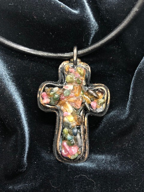 Leather and gems chunky cross