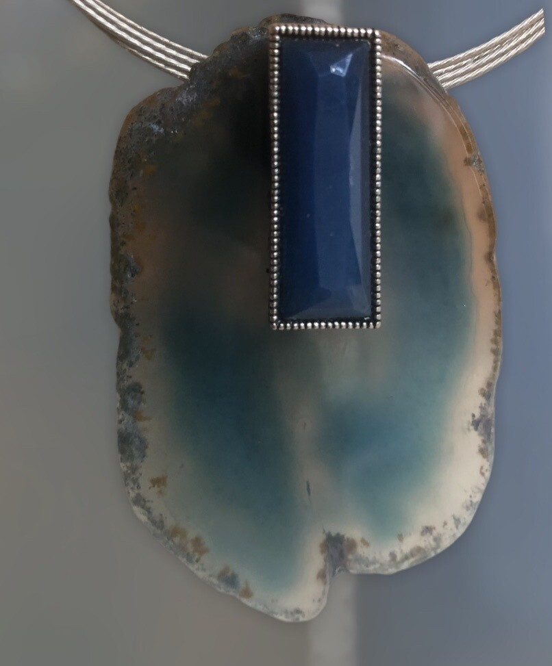 Large agate slice and blue cabochon