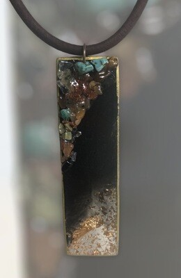 Resin and gemstones pendant
