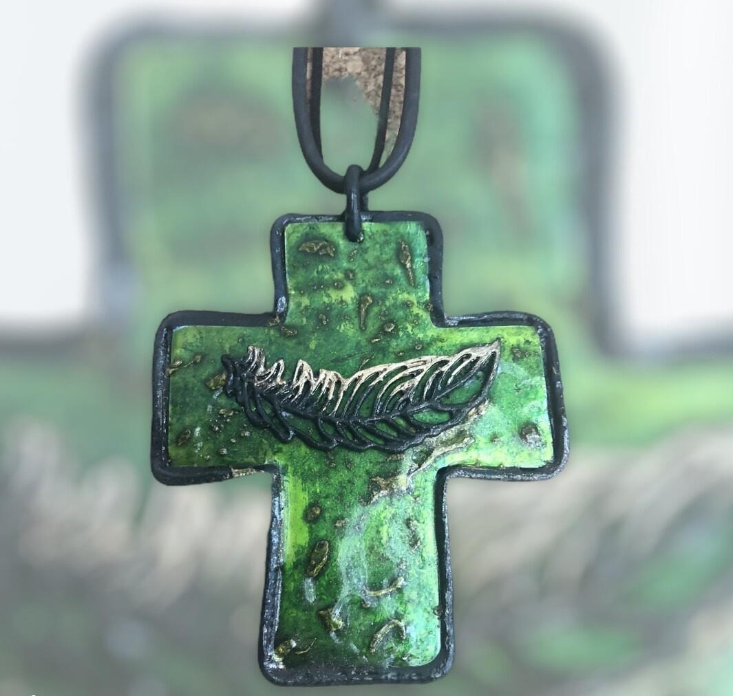 Large leather and aluminium cross