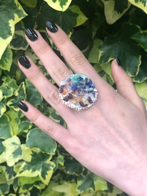 Beautiful silver plated ring with natural gemstones