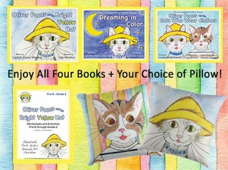 Oliver Poons Complete At-Home Learning & Fun Bundle - Children's Books - Pillows - Preschool - Kindergarten - Homeschool