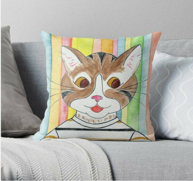 Henry the Cat Children's Book Character Pillow - 16 x 16 Throw Pillow - Reading Pillow - Playroom Decor
