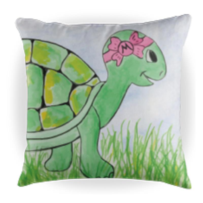 Myrtle the Turtle - Kids Throw Pillow - 16 x 16 Children's Decorative Pillows - Kids Pillows