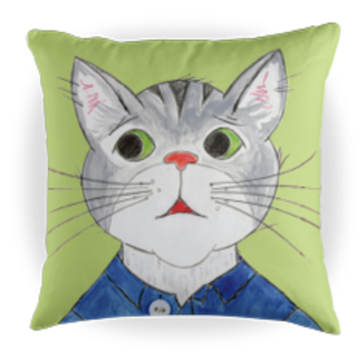 Toby the Cat Children's Book Character Kids Throw Pillow - Green - 16 x 16 Throw Pillow - Reading Pillow - Playroom Decor