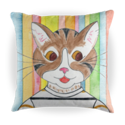 Henry the Cat Children's Book Character Kids Throw Pillow - 16 x 16 Throw Pillow - Reading Pillow - Playroom Decor