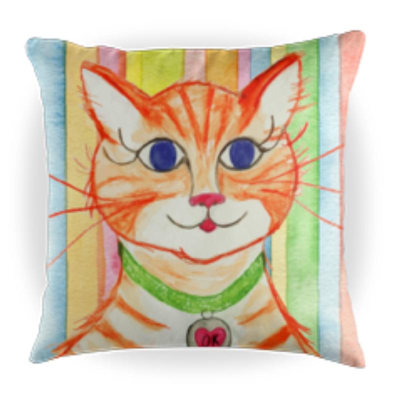 Orange Kitty - Kids Throw Pillow - 16 x 16 Children's Decorative Pillows - Kids Pillows