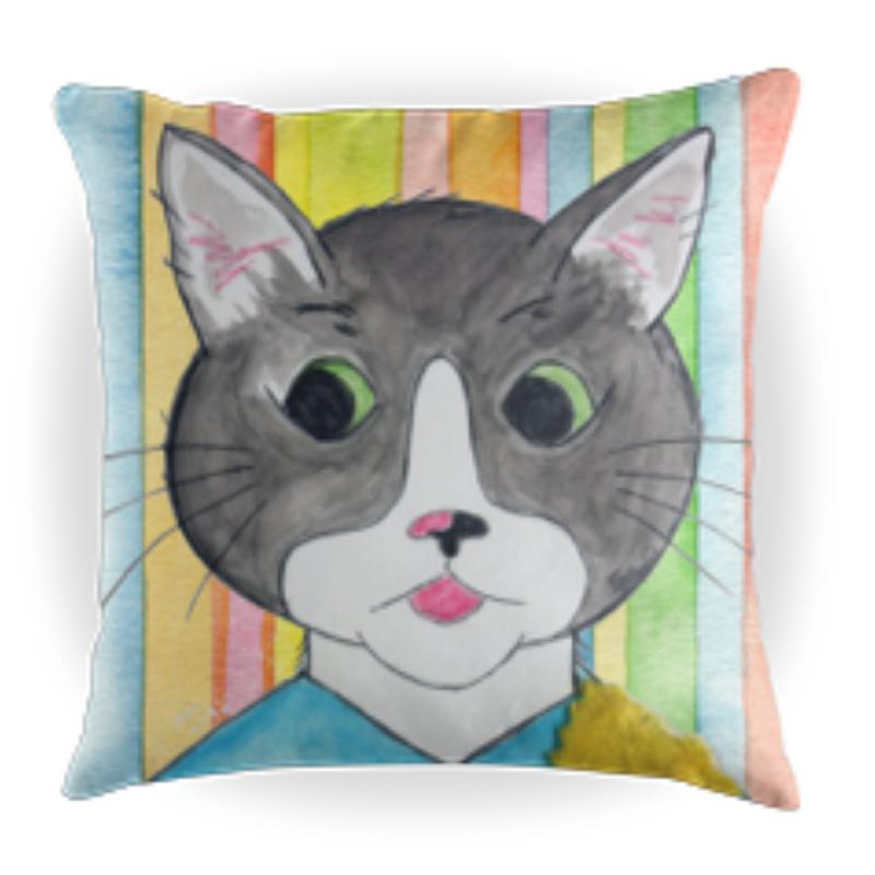 Cappy the Cat - Kids Throw Pillow - 16 x 16 Children's Decorative Pillows - Kids Pillows