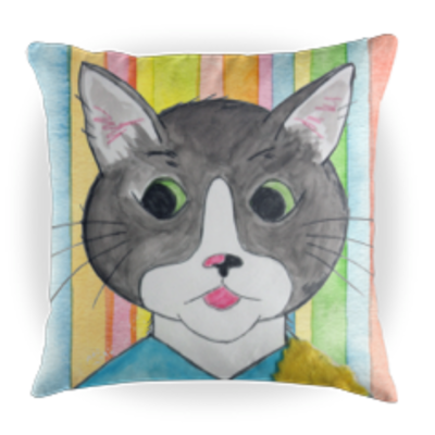 Cappy the Cat Children's Book Character Kids Throw Pillow - Striped Background - 16 x 16 Throw Pillow - Reading Pillow - Playroom Decor