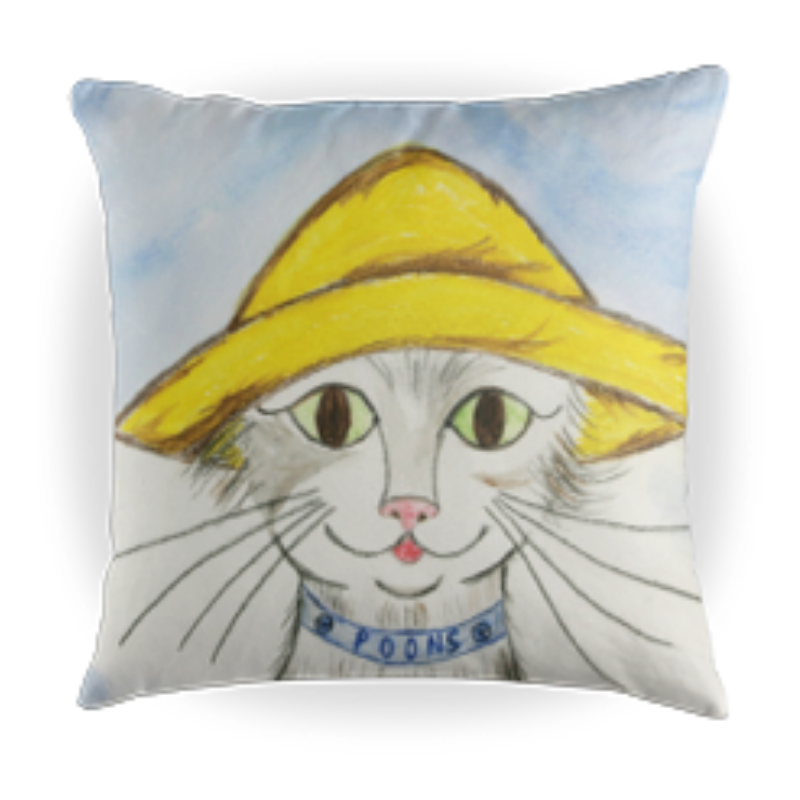 Oliver Poons the Cat - Kids Throw Pillow - 16 x 16 Children's Decorative Pillows - Kids Pillows