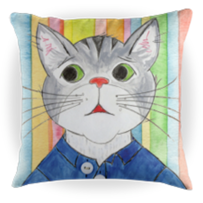 Toby the Cat - Kids Throw Pillow - Striped Background - 16 x 16 Children's Decorative Pillows - Kids Pillows
