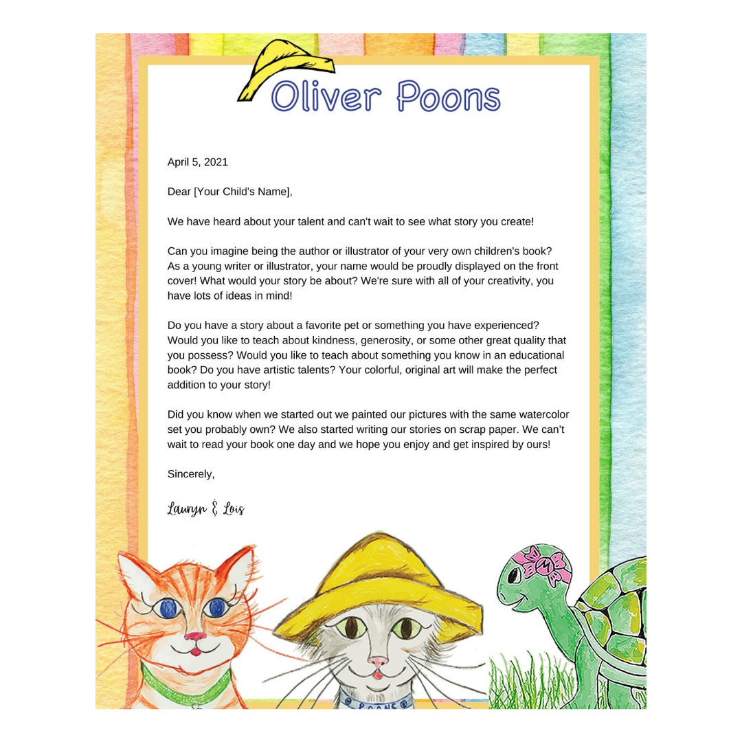 Oliver Poons Young Writers Bundle -Personalized Letter From the Author & Illustrator with Your Choice of Oliver Poons Storybook