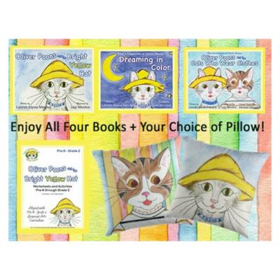 Oliver Poons Complete At-Home Learning & Fun Bundle - Children's Books - Pillows - Preschool - Kindergarten - Grades 1 & 2 - Homeschool