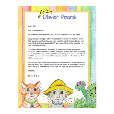Teacher's Edition! Oliver Poons Young Writers Bundle  For the Classroom - Personalized Letter From the Author & Illustrator with Your Choice of Oliver Poons Children's Book