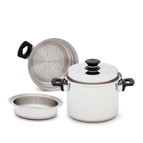 iCOOK 4 Litre Stock Pot And Lid, Double Boiler Inset And Steamer (4 Pieces)