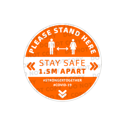 SD Stand Here Stickers 400mm (Pack of 10)