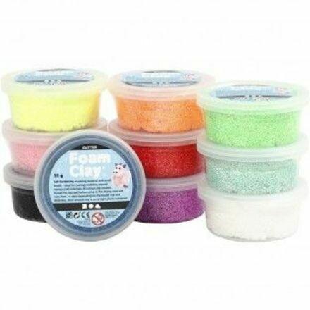 medium foam clay pakket glitter + 5 basic isomo figuren naar keuze
