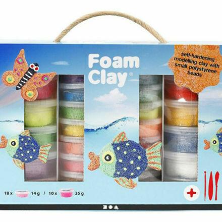 mega foam clay pakket basic + glitter + 7 basic isomo figuren naar keuze