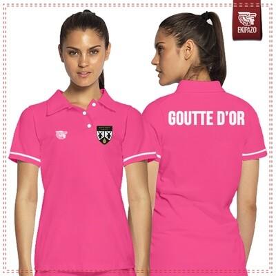 Polo rose et blanc 100% coton femme Goutte d'Or FC