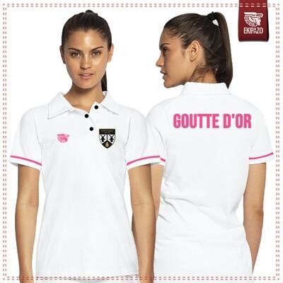 Polo blanc et rose 100% coton femme Goutte d'Or FC