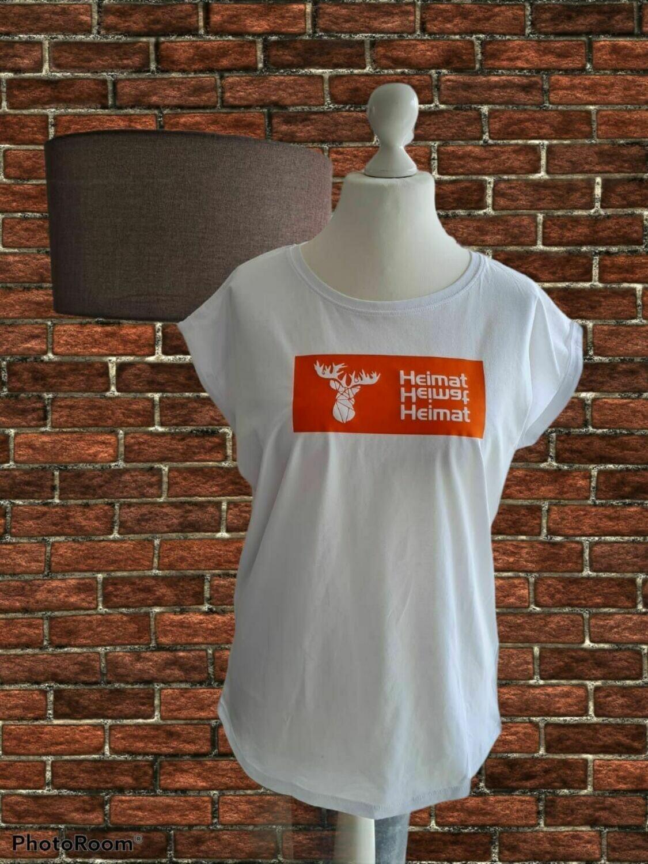 """Damen T-Shirt mit Rundhals und Hirschmotiv - Schriftzug """"Heimat"""""""