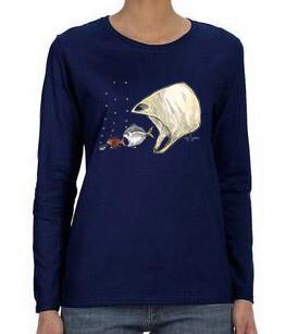 Ocean Ecology – Women's long sleeve t-shirt. Navy.