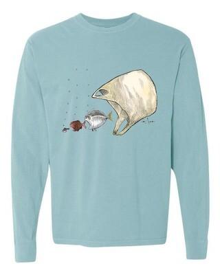 Ocean Ecology – Womens long sleeve t-shirt. Light blue.