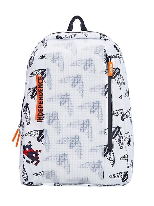Рюкзак пиксельный белый с принтом