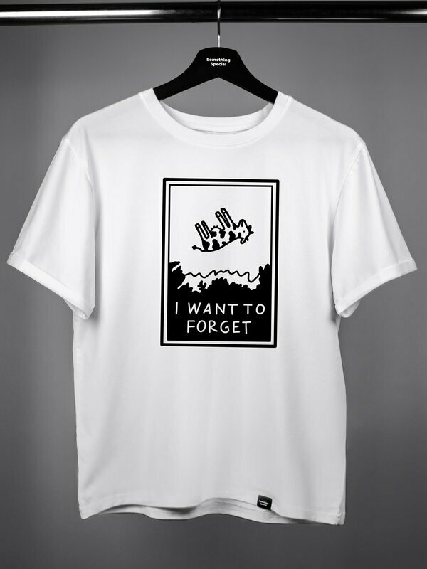 """Футболка """"I want to forget"""" белая"""