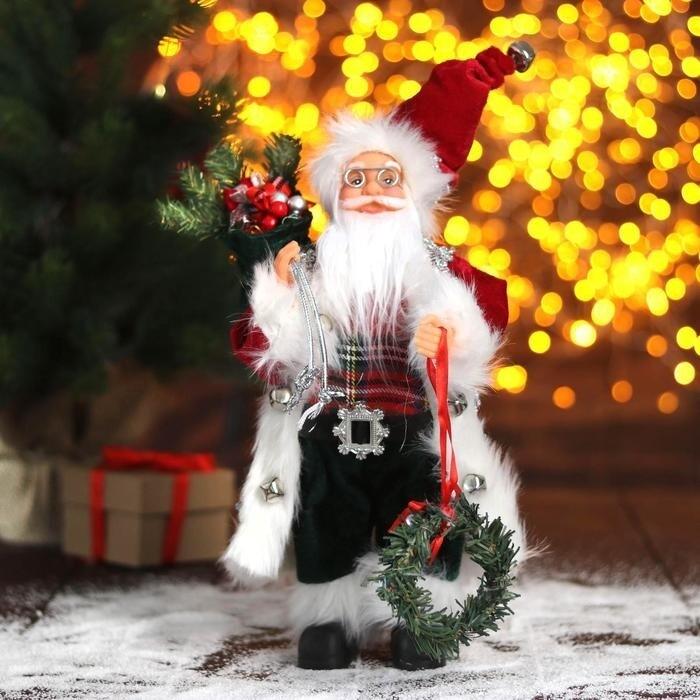 """Дед Мороз """"В красной шубке с новогодним венком"""", 30 см"""