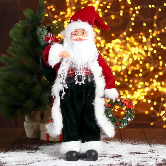 """Дед Мороз """"В красной шубке с новогодним венком"""", 45 см"""