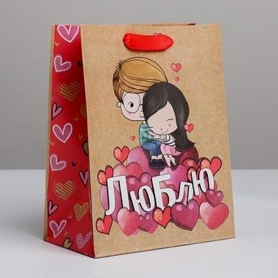 Пакет крафтовый вертикальный «Любовь, любовь»