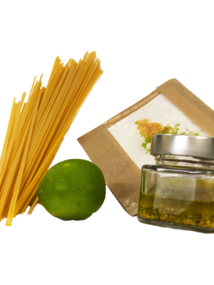Spaghetti con Pesto di Pistacchi Bottarga e Lime
