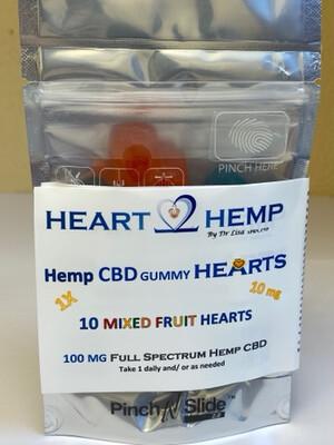 1X 10 mg Hemp CBD Gummy Hearts