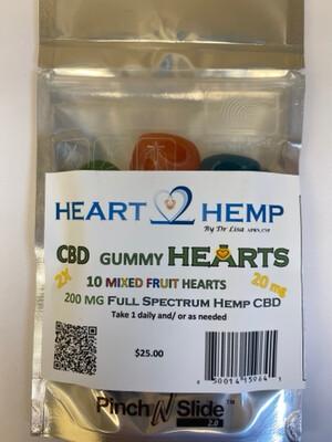 2X 20 mg Hemp CBD Gummy Hearts