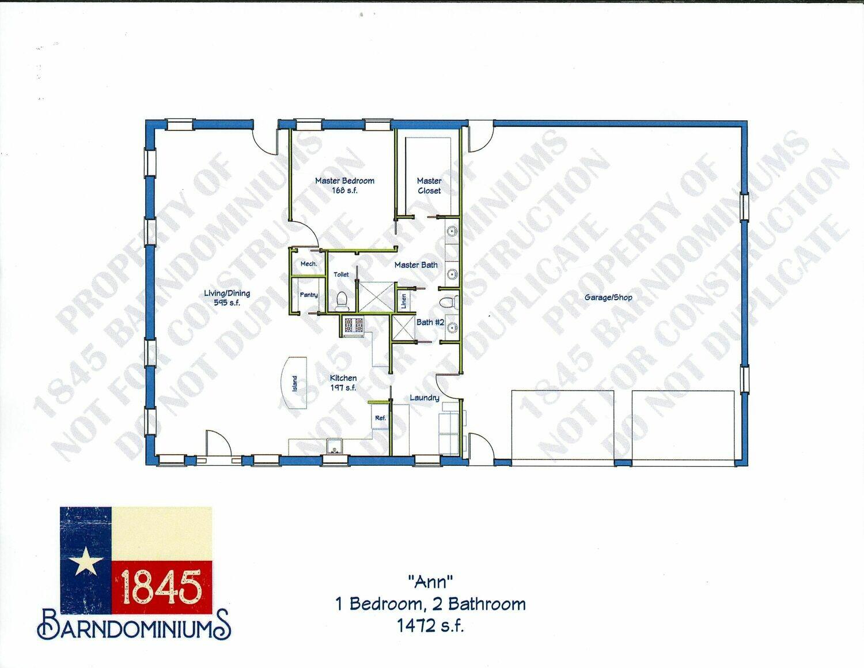 """Ann"" Floor Plan 1 bedroom 2 bath - 1472 sf"